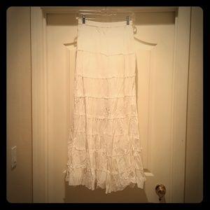 Vintage White, Crumpled Cotton Maxi Skirt